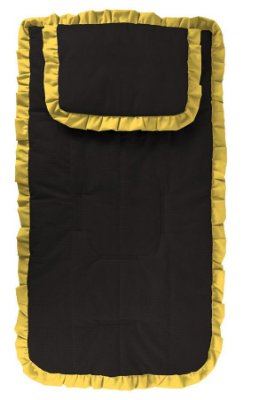 Capa Carrinho com Travesseiro Preta com Babado Amarelo