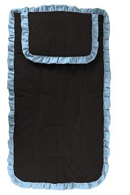 Capa Carrinho com Travesseiro Preta com Babado Azul Bebê