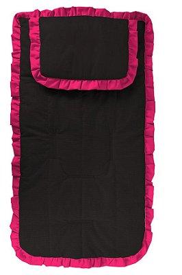 Capa Carrinho com Travesseiro Preta com Babado Pink