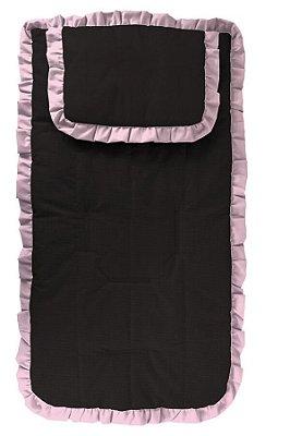 Capa Carrinho com Travesseiro Preta com Babado Rosa Bebê