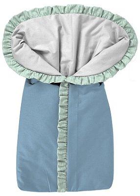 Porta Bebê Saco de Dormir Azul com Verde Bebê