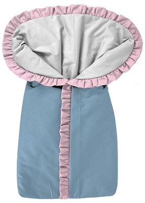 Porta Bebê Saco de Dormir Azul com Babado Rosa Bebê