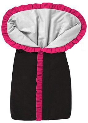 Porta Bebê Saco de Dormir Preto com Babado Pink