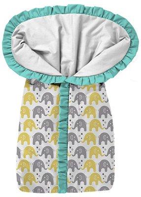 Porta Bebê Elefantinhos Amarelo e CInza  Babado Verde Tiffany