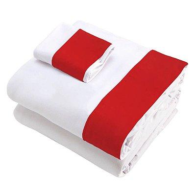 Jogo de Lençol 3 Peças para Berço Branco Debruado em Vermelho