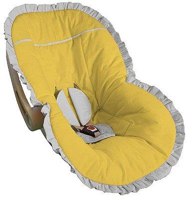 Capa para Bebê Conforto Amarela com Babado Branco