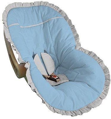 Capa para Bebê Conforto Azul Bebê com Babado Branco