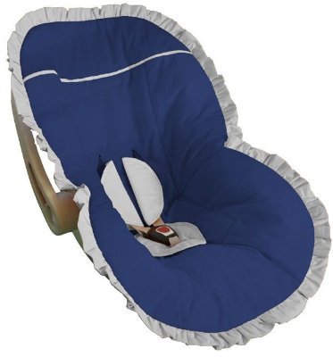 Capa para Bebê Conforto Azul Marinho com Babado Branco
