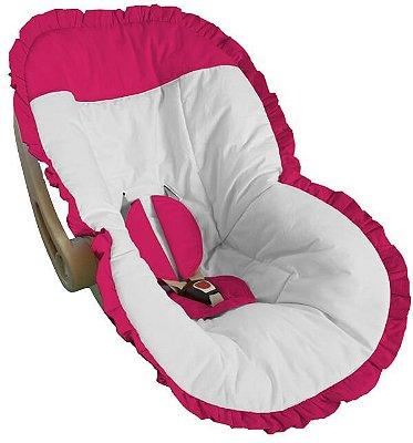 Capa para Bebê Conforto Branco com Detalhes e Babado Pink