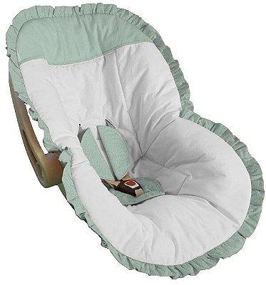 Capa para Bebê Conforto Branco com Detalhes e Babado Verde Bebê