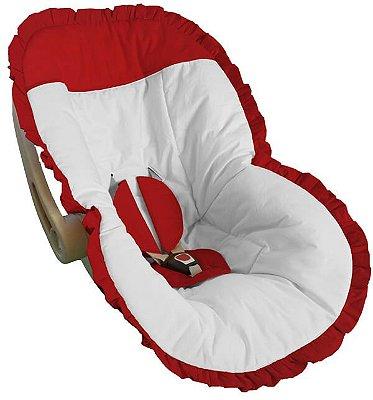 Capa para Bebê Conforto Branco com Detalhes e Babado Vermelho