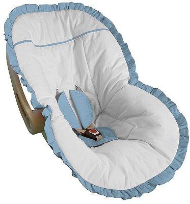 Capa para Bebê Conforto Branco com Babado Azul Bebê
