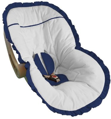 Capa Bebê Conforto Branca Babado Azul Marinho