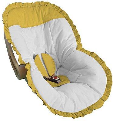 Capa Bebê Conforto Branca Babado e Detalhes em Babado Amarelo