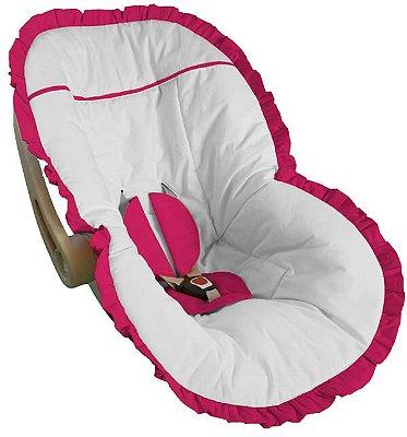 Capa Bebê Conforto Branca e Babado Pink