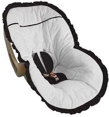 Capa Bebê Conforto Branca e Babado Preto