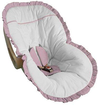 Capa Bebê Conforto Branca e Babado Rosa Bebê