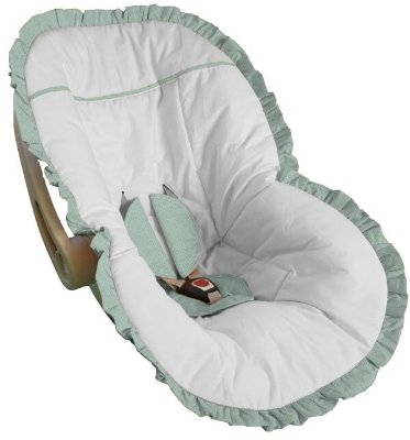 Capa Bebê Conforto Branca e Babado Verde Bebê