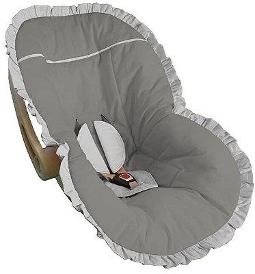 Capa Bebê Conforto Cinza e Babado Branco