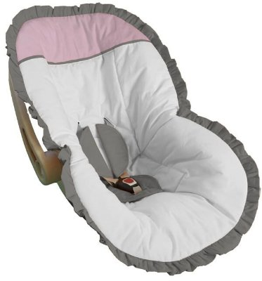 Capa Bebê Conforto Branco Babado Cinza e Detalhes em Rosa Bebê