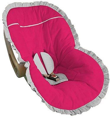 Capa Bebê Conforto Pink Babado Branco