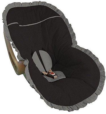 Capa Bebê Conforto Preto Babado Cinza