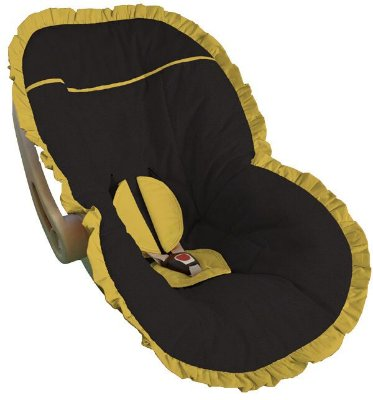 Capa Bebê Conforto Preta Babado Amarelo