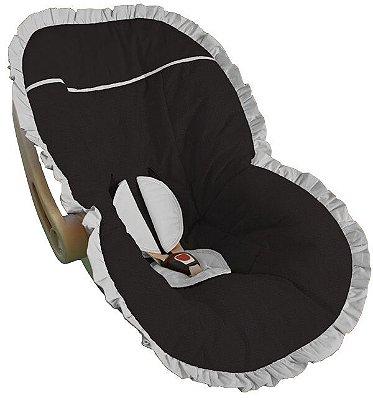 Capa Bebê Conforto Preta Babado Branco