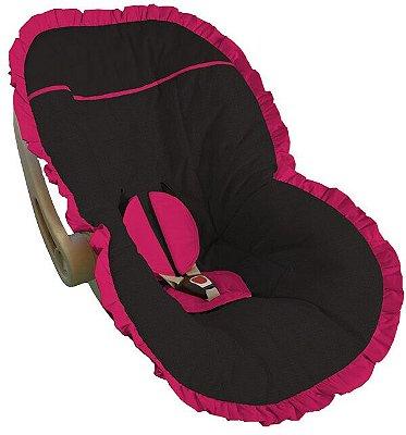 Capa Bebê Conforto Preta Babado Pink