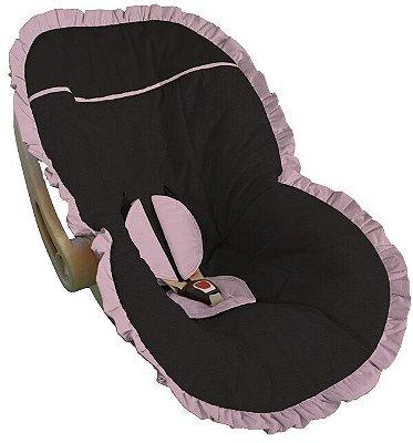 Capa Bebê Conforto Preta Babado Rosa Bebê