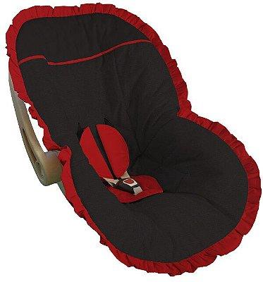 Capa Bebê Conforto Preta Babado Vermelho