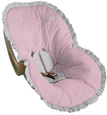 Capa Bebê Conforto Rosa Bebê Babado Branco