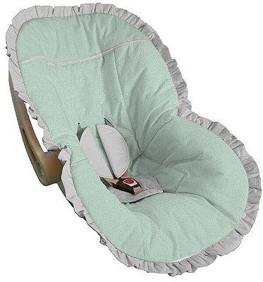 Capa Bebê Conforto Verde Bebê Babado Branco