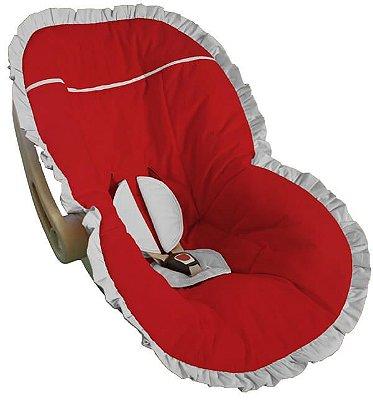 Capa Bebê Conforto Vermelha Babado Branco