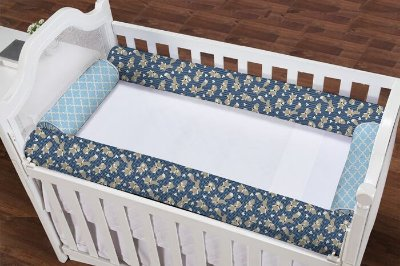 Kit Berço Rolinho 4 Peças Raposinha Marinho com Arabesco Azul Bebê