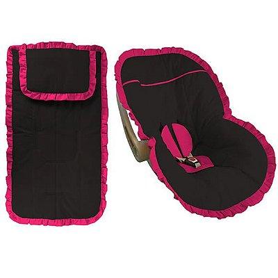 Conjunto Capa Bebê Conforto e Carrinho Preta com Babado Pink