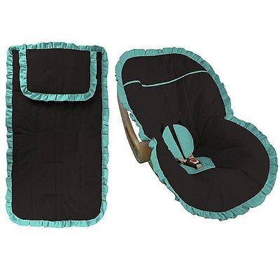 Conjunto Capa Bebê Conforto e Carrinho Preta com Babado Verde Tiffany