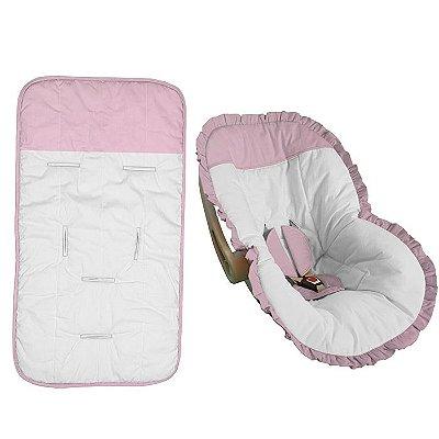 Conjunto Capa Bebê Conforto e Carrinho Branco com Babado Rosa Bebê