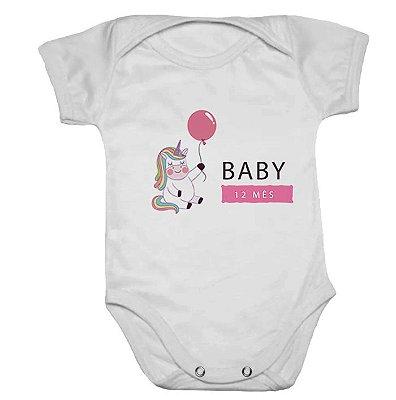Body de Bebê Manga Curta Mesversario Unicórnio