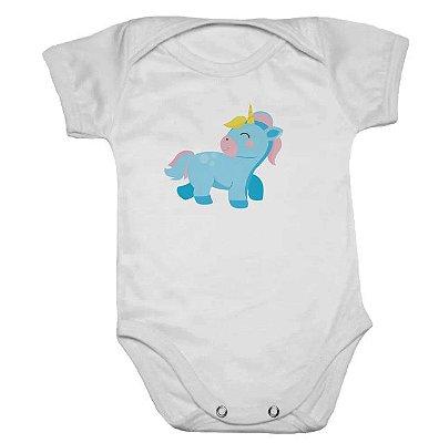 Body de Bebê Manga Curta Unicórnio Azul