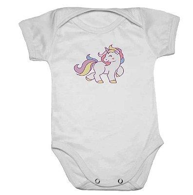Body de Bebê Manga Curta Unicórnio Arco Iris