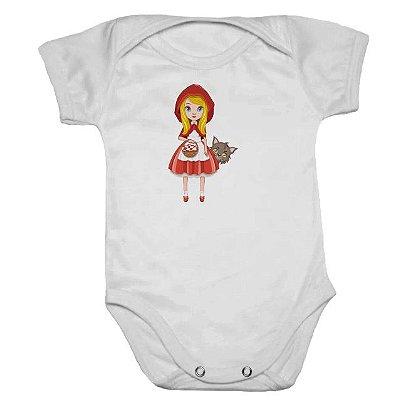 Body de Bebê Branco Manga Curta Chapeuzinho Vermelho
