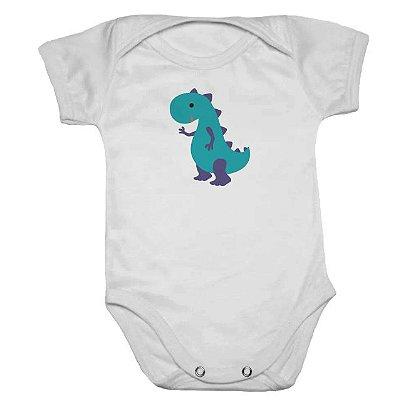 Body de Bebê Branco Manga Curta Dinossauro Verde