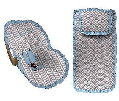 Conjunto Capa Bebê Conforto e capa carrinho chevron cinza com babado azul bebê