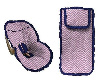 Conjunto Capa Bebê Conforto e capa carrinho chevron rosa com babado azul marinho