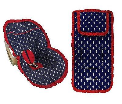 Conjunto Capa Bebê Conforto e capa carrinho Ancoras Marinheiro Babado Vermelho