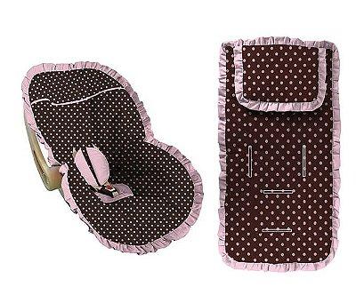 Conjunto Capa Bebê Conforto e capa carrinho poá marrom com babado rosa bebê