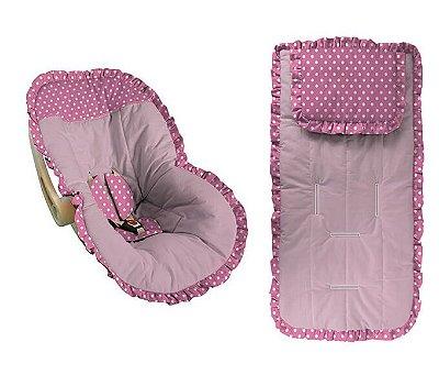 Conjunto Capa Bebê Conforto e capa carrinho rosa bebê com babado poá pink