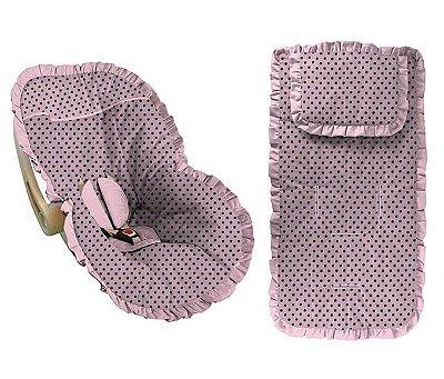 Conjunto Capa Bebê Conforto e capa carrinho rosa com poá marrom