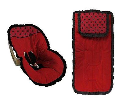 Conjunto Capa Bebê Conforto e capa carrinho vermelho Joaninha